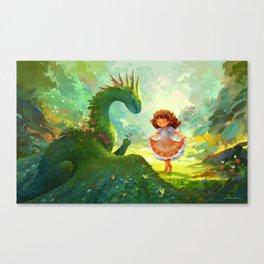 Pretty - Girl and Garden dragon Canvas Print