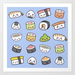 Happy kawaii sushi pattern Art Print