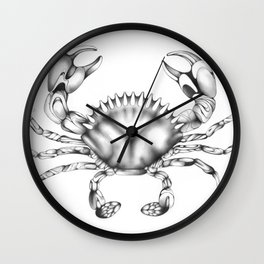 Surreal Pencil Crab Drawing, Black and White Wall Clock
