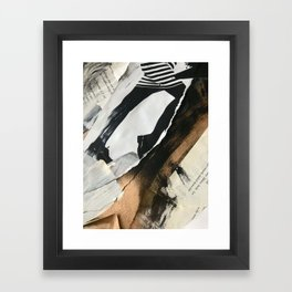 Stay | Collage Series 2 | mixed-media piece in gold, black and white + book pages Framed Art Print