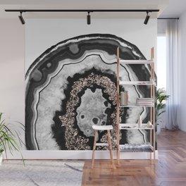 Gray Black White Agate with Rose Gold Glitter #3 #gem #decor #art #society6 Wall Mural