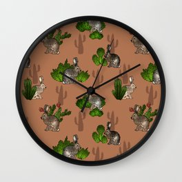 Jackrabbits and Cacti Wall Clock
