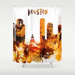 Houston Texas Red Yellow Skyline Shower Curtain