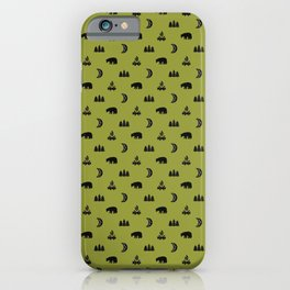 LET'S GO CAMPING, OLIVE iPhone Case