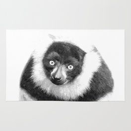Black and white lemur animal portrait Rug