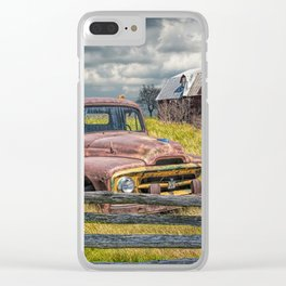 Pickup Truck behind wooden fence in a Rural Landscape Clear iPhone Case