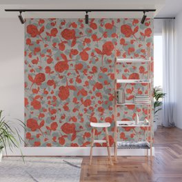 Red and Gray Floral Pattern Wall Mural