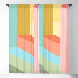 Abstract Geometry Steps in Beachy Pastels Blackout Curtain