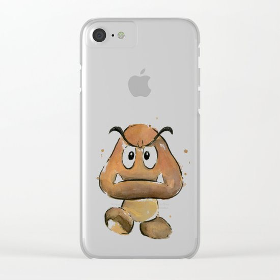 Goomba Watercolor Painting Mario Gamer Videogame Art Clear iPhone Case