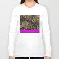 jay fleck Long Sleeve T-shirts featuring Magenta Fleck Tarn Camo by Derek Boman