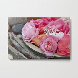 Pink Roses Romantic Still Life Metal Print