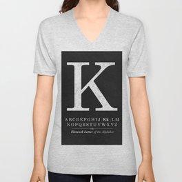 Monogram Letter K Initial with Black & White Alphabet Unisex V-Neck