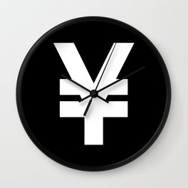Yen Sign (White & Black) Wall Clock