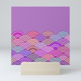 seigaiha wave lilac purple pink colors abstract scales Mini Art Print