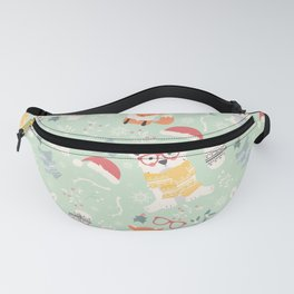 Christmas polar animals pattern 002 Fanny Pack