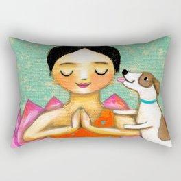 Meditating Yoga Girl with Dog painting ZEN art by Tasc Rectangular Pillow