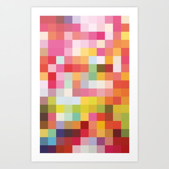 Pop Mosaic Tile Artsy Vintage  Art Print