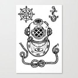Deep Sea Diver Helmet Illustration Canvas Print