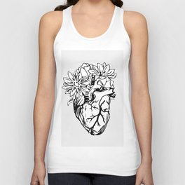 Floral Mexican Heart - black and white Unisex Tank Top