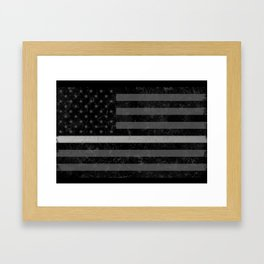 Thin Silver Line Flag Framed Art Print