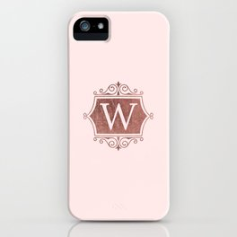 Girly blush faux rose pink gold monogram iPhone Case