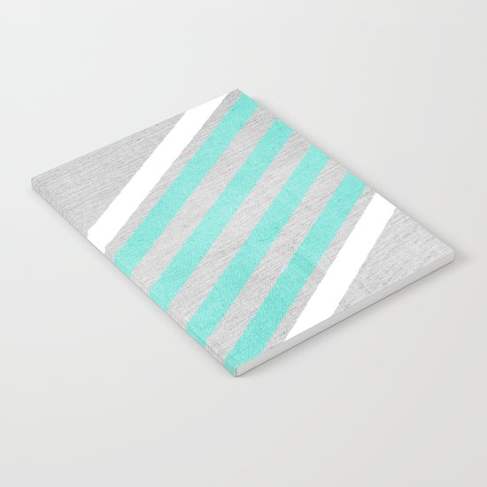 Teal and White Chevron on Silver Grey Wood Notebook