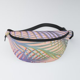 Palm Leaves Pattern - Purple, Peach, Blue Fanny Pack