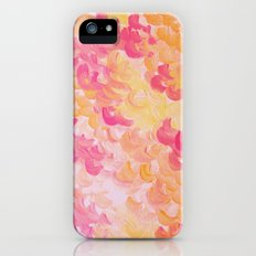 PINK PLUMES - Soft Pastel Wispy Pretty Peach Melon Clouds Strawberry Pink Abstract Acrylic Painting  iPhone (5, 5s) Slim Case