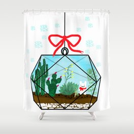 Cactus Terrarium Christmas Gift Shower Curtain