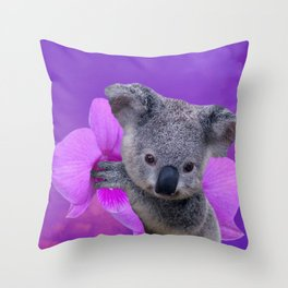 Koala and Orchid Throw Pillow