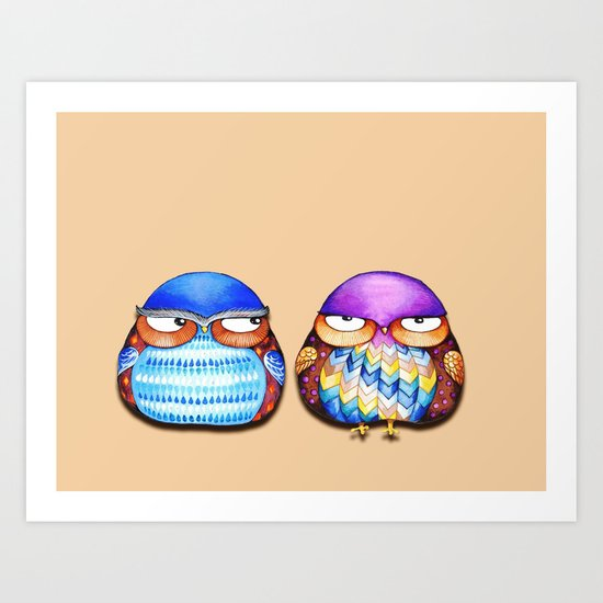 Grumpy Owls Art Print