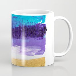 Modern gold foil turquoise purple acrylic abstract brushstrokes painting Coffee Mug