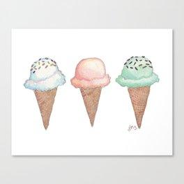 Three Ice Cream Cones Canvas Print