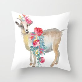 goat with flower crown Throw Pillow