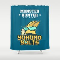 monster hunter Shower Curtains featuring Monster Hunter All Stars - The Yukumo Bolts by Bleached ink