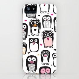 Adorable little penguin illustration pattern iPhone Case