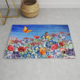 Summer Flower Meadow - Watercolor illustration Rug