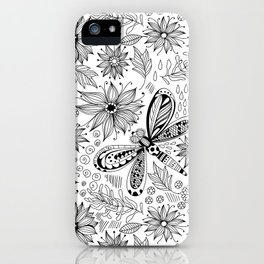 Dragonfly and flowers doodle iPhone Case