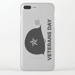 Veterans Day Commemorative Soldier Helmet Star Clear iPhone Case