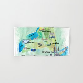USA New York State Travel Poster Map with tourist highlights Hand & Bath Towel
