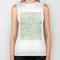 houston Biker Tanks featuring Houston Map Blue Vintage by City Art Posters
