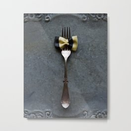 Striped Bow Pasta Metal Print