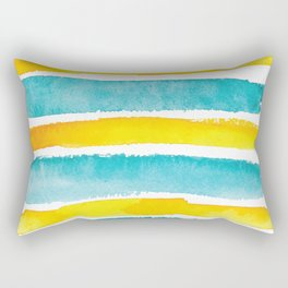 Watercolor yellow and turquoise stripes Rectangular Pillow
