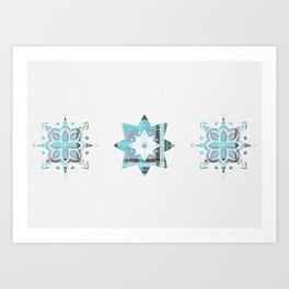 Blue tartan stars Art Print
