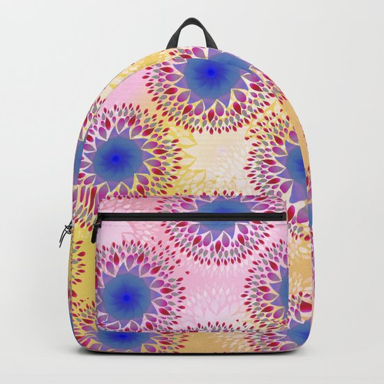 Teardrop Concentric Circle Pattern (Pink,Yellow) Backpack
