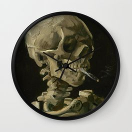 Head of a Skeleton with a Burning Cigarette Wall Clock