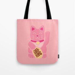 Lucky Cat in Pastel Pink Tote Bag