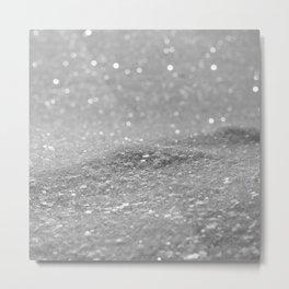 Glitter Silver Metal Print