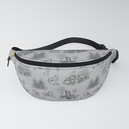 Eurasian Wolf Toile Pattern (Gray) Fanny Pack