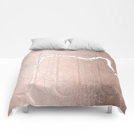 RoseGold on White London Street Map II Comforters